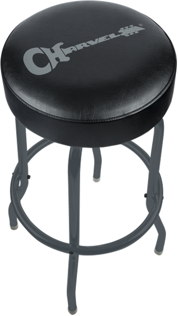 Charvel Barstool, Black Stool and Legs with Gray Logo, 30""