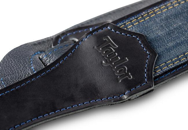 "TaylorWare 4300-25 Taylor Blue Denim Strap,Navy Leather Edges,2.5"" Embossed Logo"