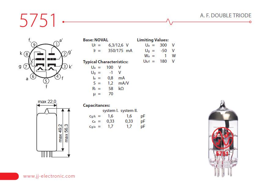 JJ Electronic 5751 Preamp Tube