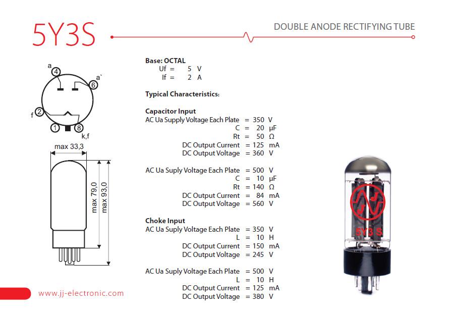 JJ Electronic Recifying Tube 5Y3S