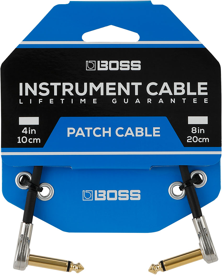 """BOSS 3 Pack of 4"""" / 10cm PATCH CABLE WITH PANCAKE JACK PLUGS"""