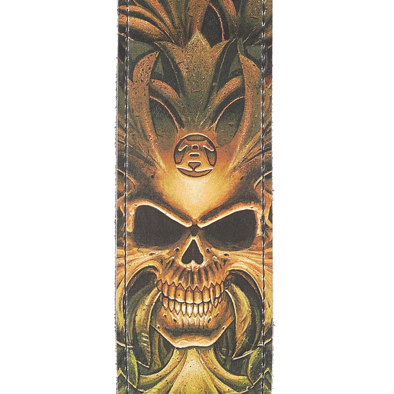 Alchemy Leather Guitar Strap, Green Skull