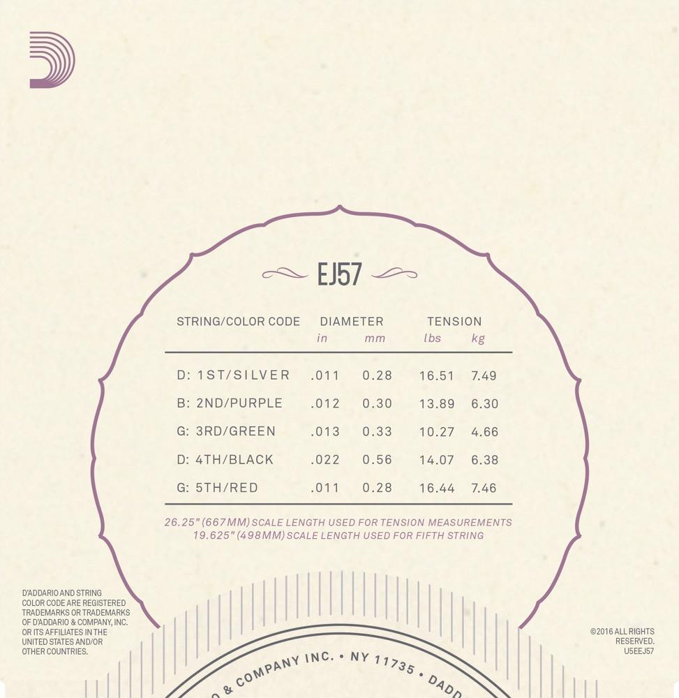 D'Addario EJ57 5-String Banjo Strings, Nickel, Custom Medium, 11-22