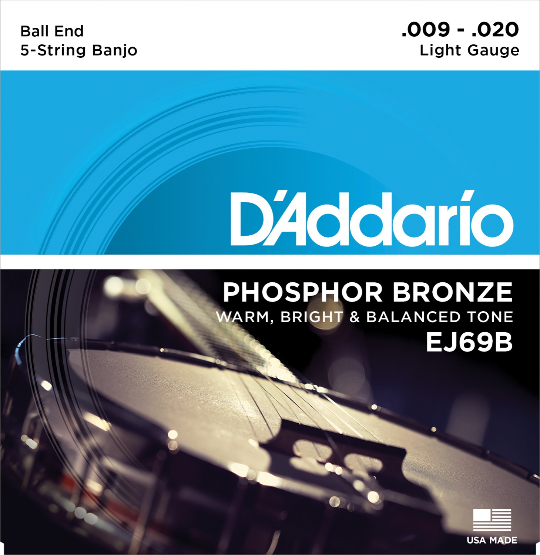 D'Addario EJ69 5-String Ball-End Banjo Strings, Phosphor Bronze, Light, 9-20