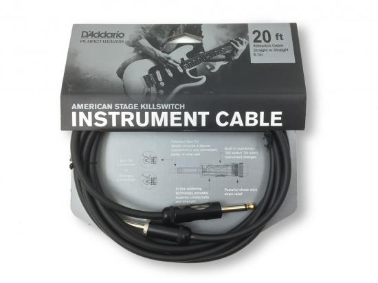 D'Addario American Stage Kill Switch Instrument Cable, 20 feet