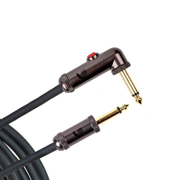 D'Addario Circuit Breaker Instrument Cable with Latching Cut-Off Switch, Right Angle Plug, 10 feet