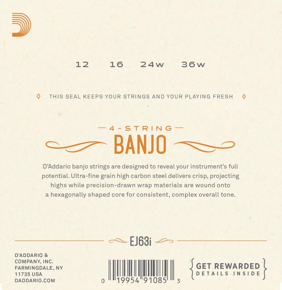 D'Addario EJ63i Irish Tenor Banjo Strings, Nickel, 9-30