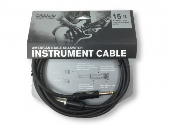 D'Addario American Stage Kill Switch Instrument Cable, 15 feet