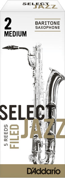 D'Addario Select Jazz Filed Baritone Saxophone Reeds, Strength 2 Medium, 5-pack
