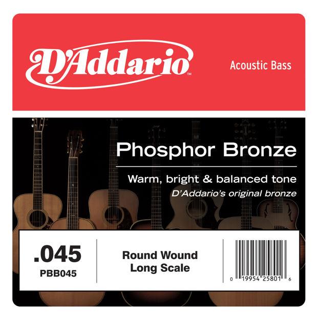 D'Addario PBB045 Phosphor Bronze Acoustic Bass Single Strings Long Scale, .045