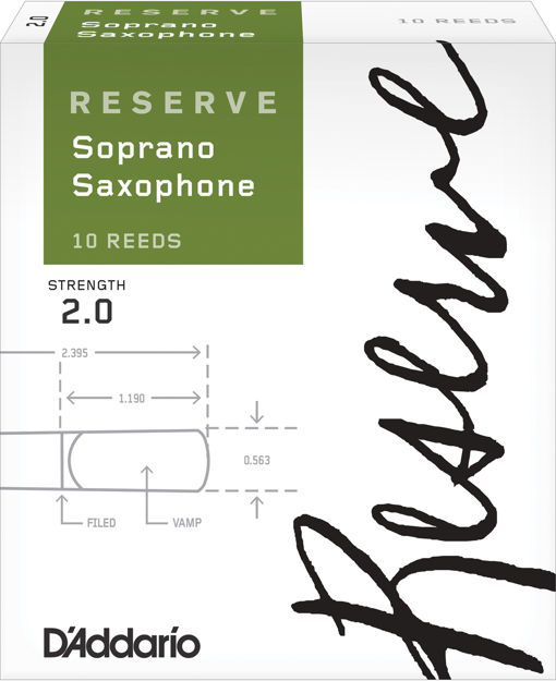 D'Addario Reserve Soprano Saxophone Reeds, Strength 2.0, 10-pack