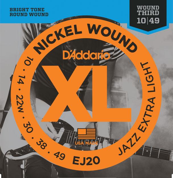 D'Addario EJ20 Nickel Wound Electric Guitar Strings, Jazz Extra Light, 10-49