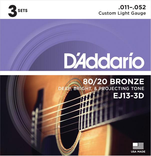 D'Addario EJ13-3D 80/20 Bronze Acoustic Guitar Strings, Custom Light, 11-52, 3 Sets