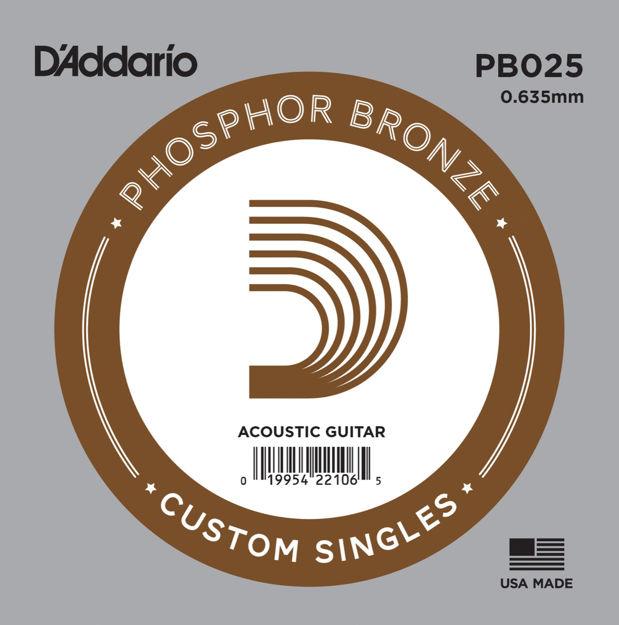 D'Addario PB025 Phosphor Bronze Wound Acoustic Guitar Single String, .025