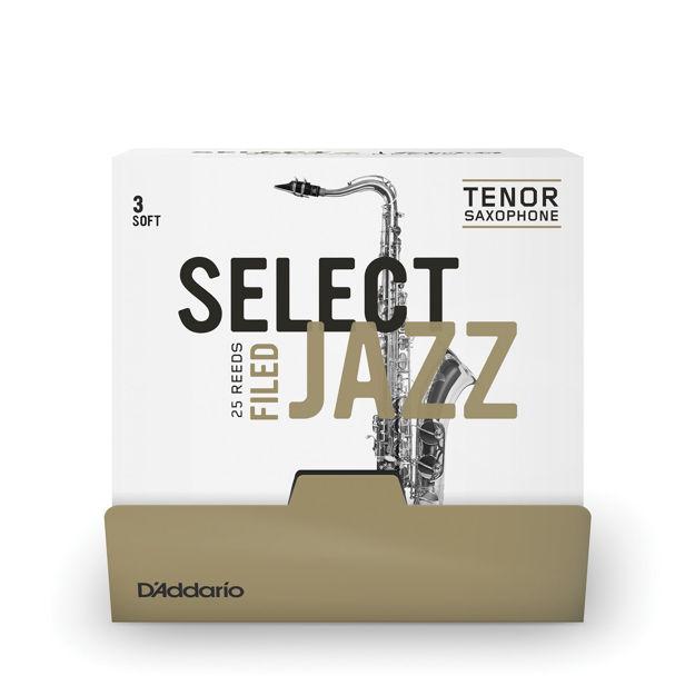 D'Addario Select Jazz Filed Tenor Saxophone Reeds, Strength 3 Soft, 25 Box