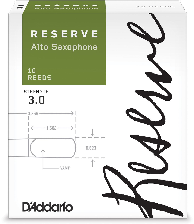 D'Addario Reserve Alto Saxophone Reeds, Strength 3.0, 10-pack