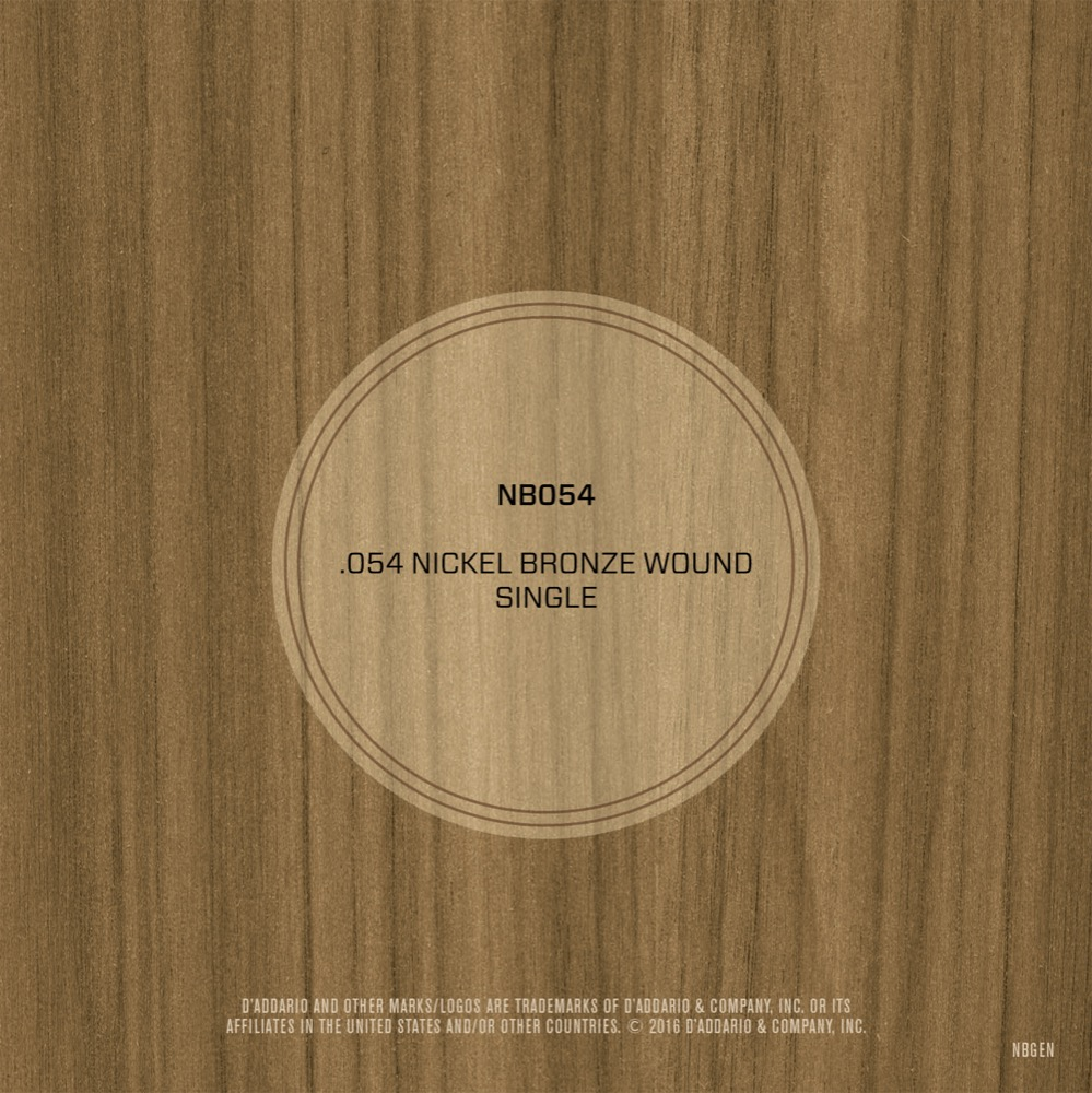 D'Addario NB054 Nickel Bronze Wound Acoustic Guitar Single String, .054