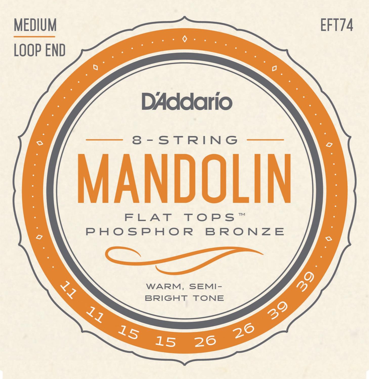 D'Addario EFT74 Flat Tops Mandolin Strings, Medium, 11-39