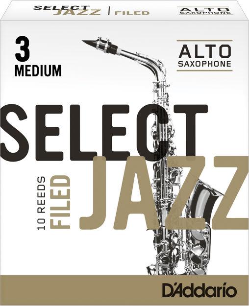 D'Addario Select Jazz Filed Alto Saxophone Reeds, Strength 3 Medium, 10-pack