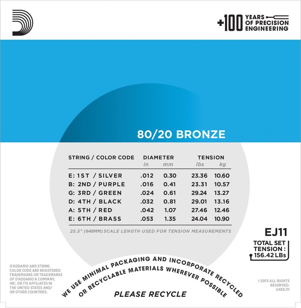 D'Addario EJ11 80/20 Bronze Acoustic Guitar Strings, Light, 12-53