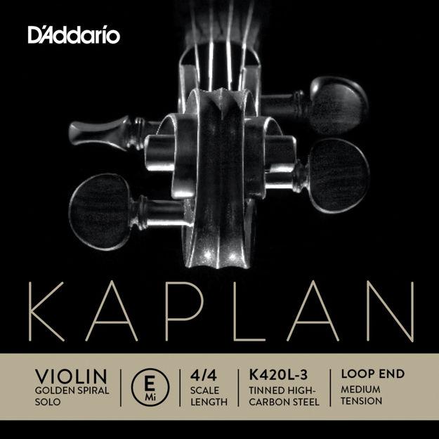 D'Addario Kaplan Golden Spiral Solo Loop End Violin Single E String, 4/4 Scale, Medium Tension