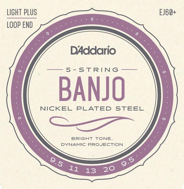 D'Addario EJ60+ 5-String Banjo Strings, Nickel, Light Plus, 9.5-20