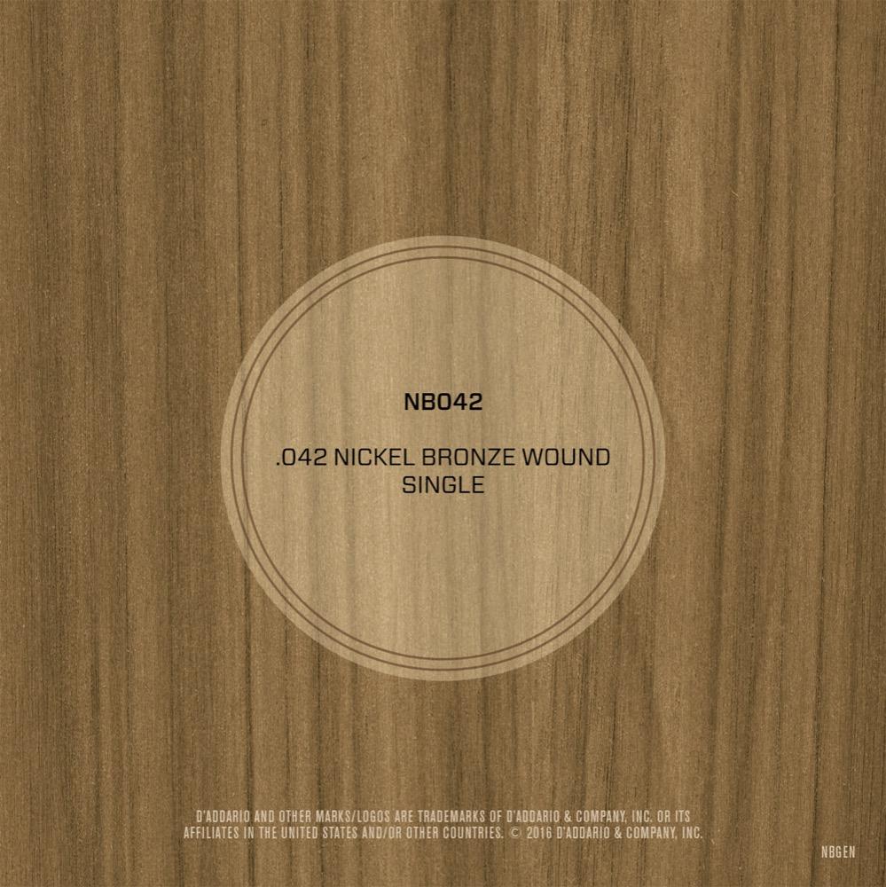 D'Addario NB042 Nickel Bronze Wound Acoustic Guitar Single String, .042