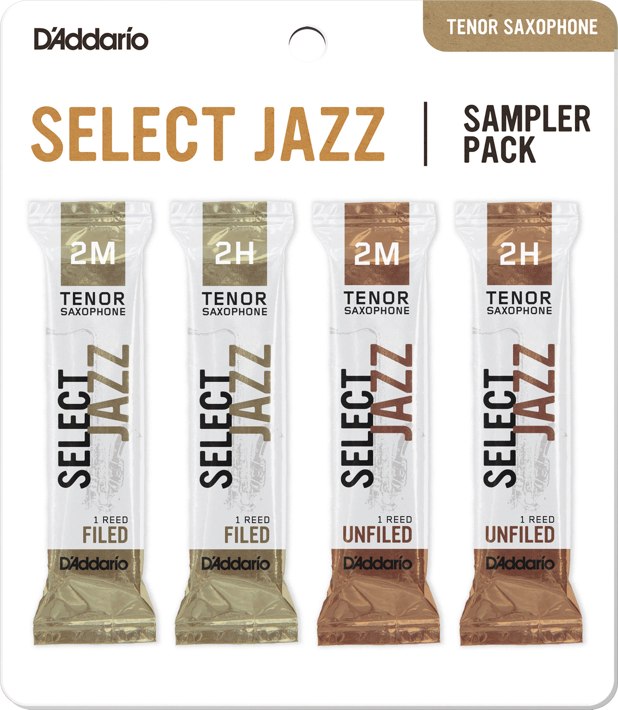 D'Addario Select Jazz Tenor Saxophone Reed Sampler Pack, 2M/2H