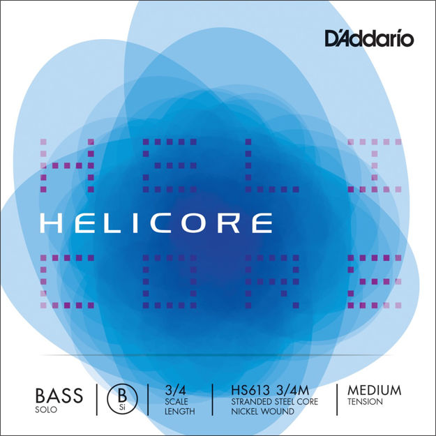 D'Addario Helicore Solo Bass Single B String, 3/4 Scale, Medium Tension