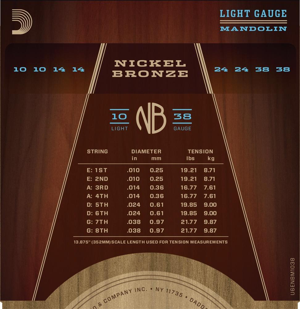 D'Addario NBM1038 Nickel Bronze Mandolin Strings, Light, 10-38