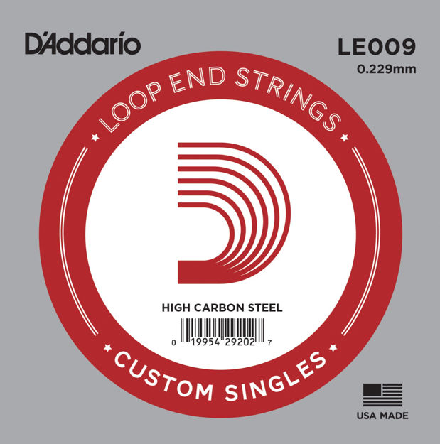 D'Addario LE009 Plain Steel Loop End Single String, .009