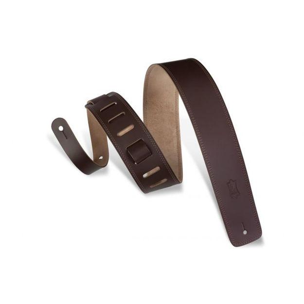 "Levy's DM1-DBR   Brown Guitar Straps Classics Series 2 1/2"" Wide Dark-brn Genuine Leather Guitar Strap"